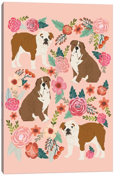 English Bulldogs Floral Collage Canvas Art Print