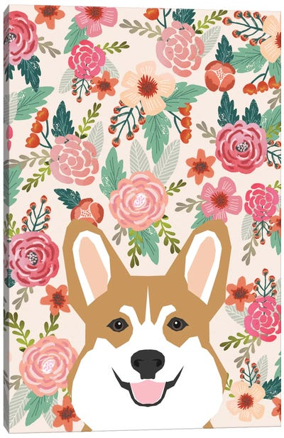Floral Corgi Portrait Canvas Art Print