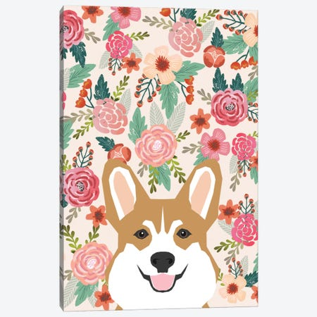 Floral Corgi Portrait Canvas Print #PET38} by Pet Friendly Canvas Wall Art