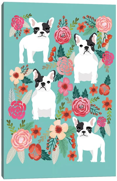 French Bulldog Floral Collage Canvas Art Print