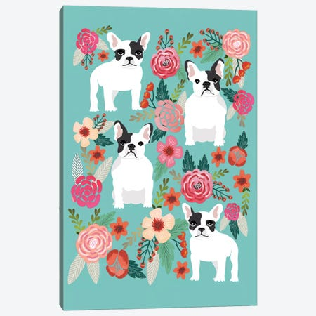 French Bulldog Floral Collage Canvas Print #PET39} by Pet Friendly Canvas Wall Art