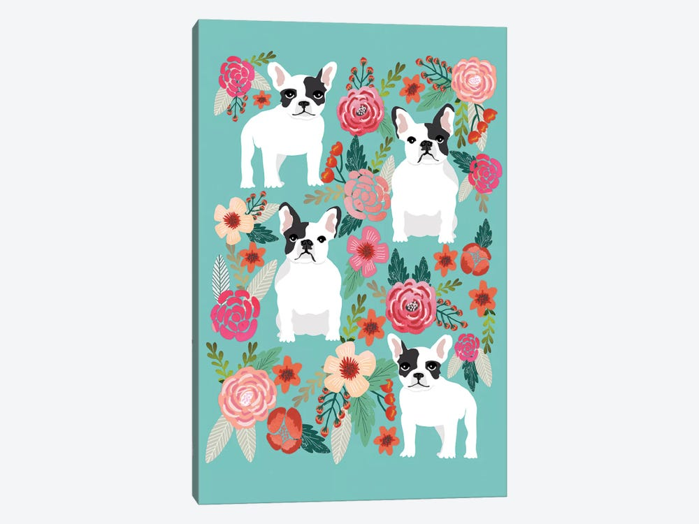 French Bulldog Floral Collage by Pet Friendly 1-piece Canvas Art