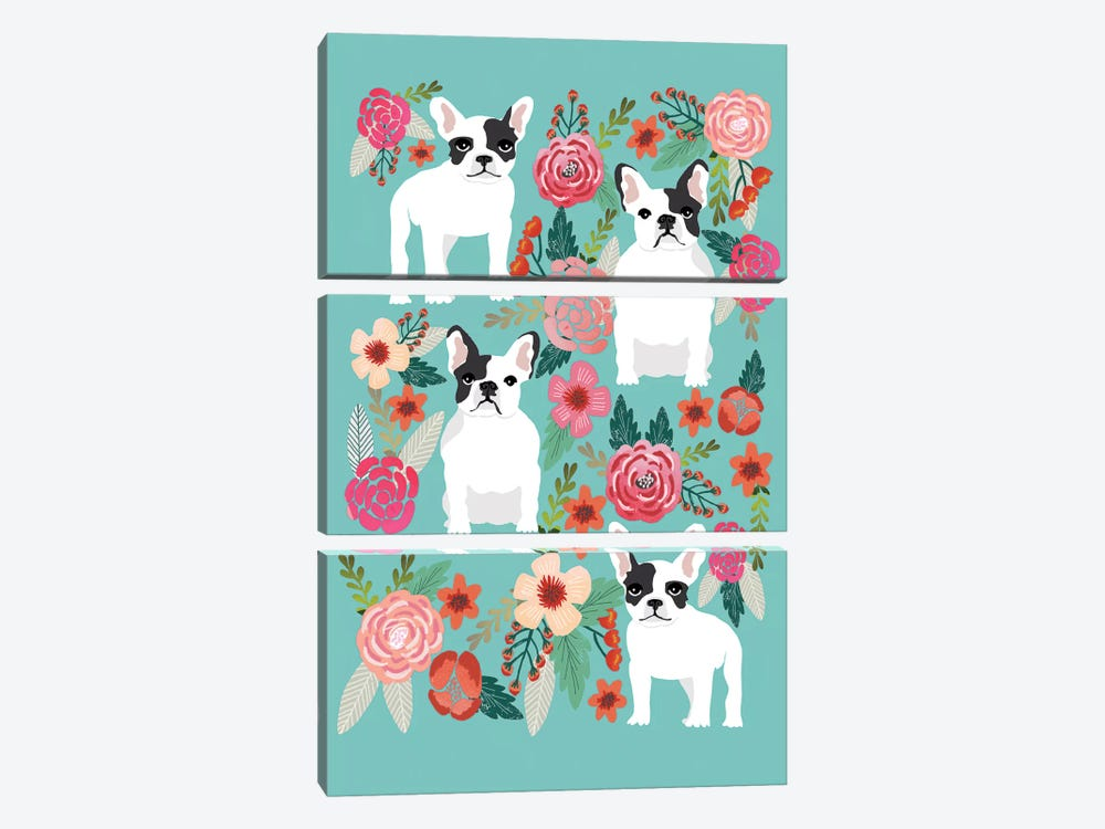 French Bulldog Floral Collage by Pet Friendly 3-piece Canvas Artwork