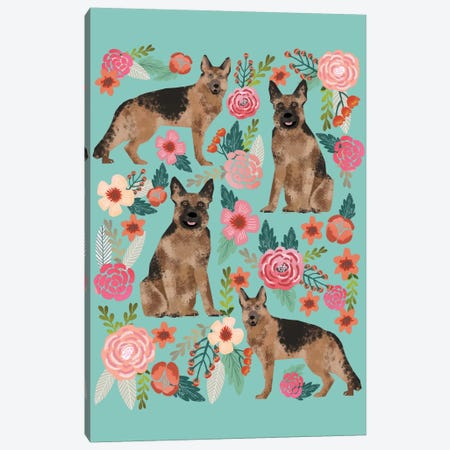 German Shepherd Floral Collage Canvas Print #PET43} by Pet Friendly Art Print