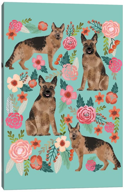 German Shepherd Floral Collage Canvas Art Print