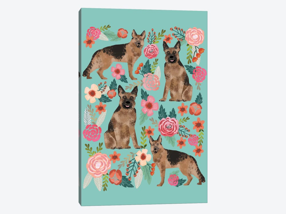 German Shepherd Floral Collage by Pet Friendly 1-piece Art Print