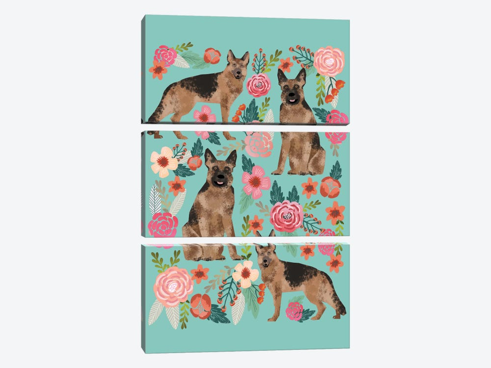 German Shepherd Floral Collage by Pet Friendly 3-piece Canvas Print