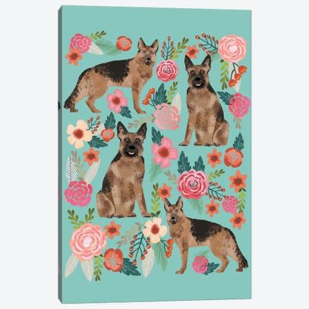 German Shepherd Floral Collage Canvas Print #PET43} by Pet Friendly Art Print