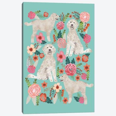Golden Doodle Floral Collage Canvas Print #PET44} by Pet Friendly Canvas Art