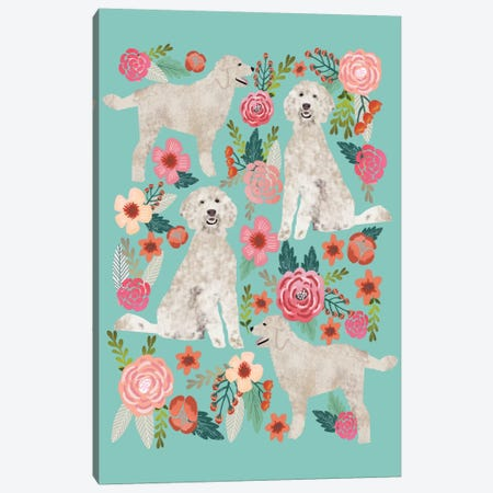 Golden Doodle Floral Collage Canvas Print #PET44} by Pet Friendly Canvas Art