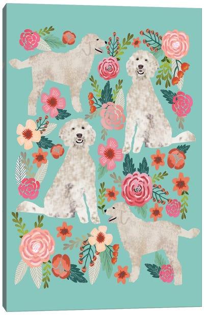 Golden Doodle Floral Collage Canvas Print #PET44