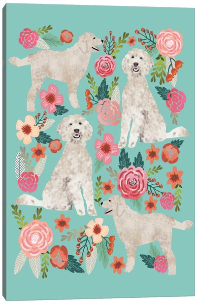 Golden Doodle Floral Collage Canvas Art Print