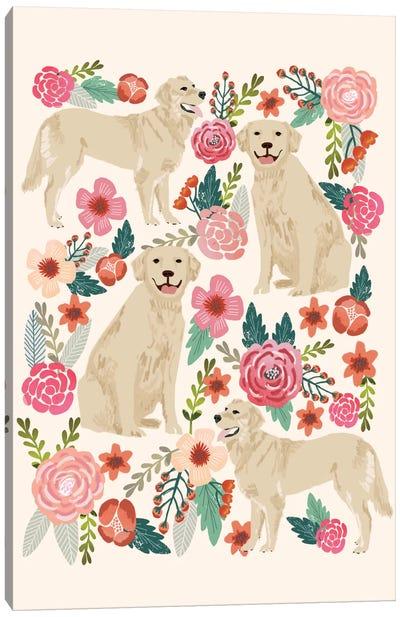 Golden Retriever Floral Collage Canvas Print #PET45