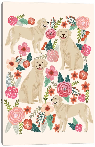 Golden Retriever Floral Collage Canvas Art Print