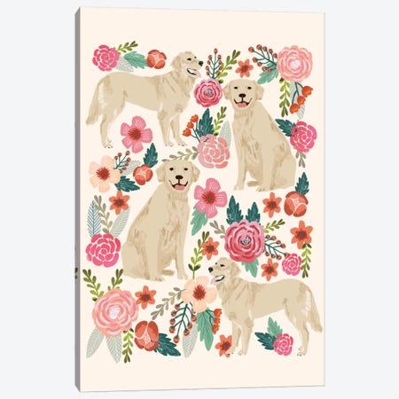Golden Retriever Floral Collage Canvas Print #PET45} by Pet Friendly Canvas Art