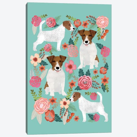 Jack Russell Terrier Floral Collage Canvas Print #PET49} by Pet Friendly Canvas Print