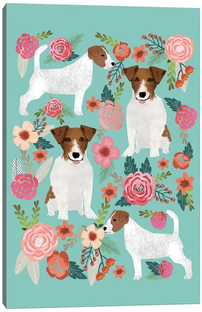 Jack Russell Terrier Floral Collage Canvas Art Print