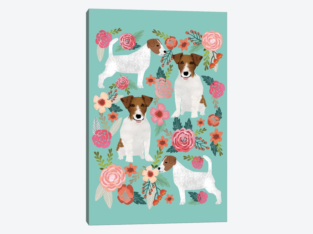 Jack Russell Terrier Floral Collage by Pet Friendly 1-piece Art Print