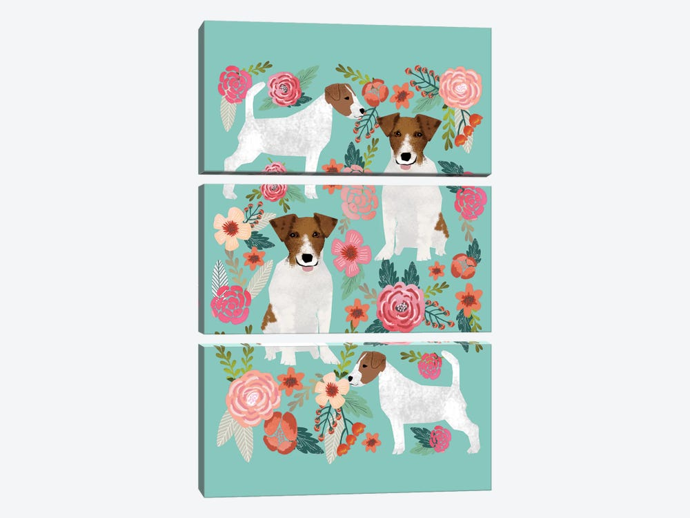 Jack Russell Terrier Floral Collage by Pet Friendly 3-piece Art Print