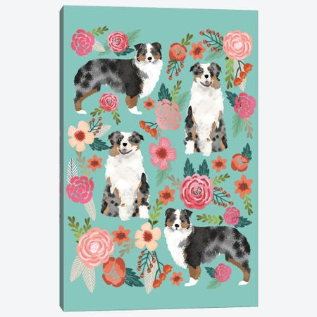Australian Shepherd Floral Collage Canvas Print #PET4} by Pet Friendly Art Print
