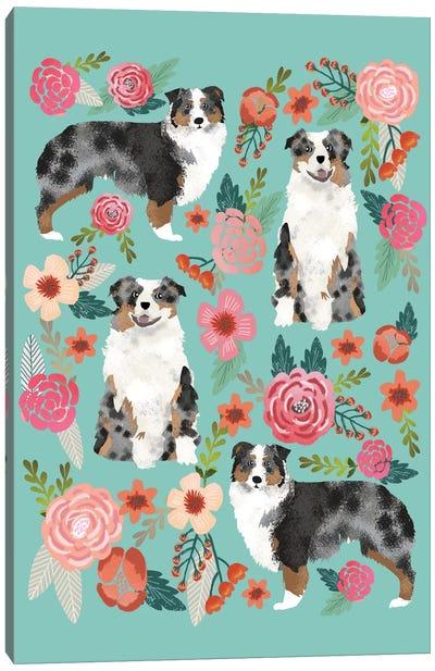 Australian Shepherd Floral Collage Canvas Print #PET4