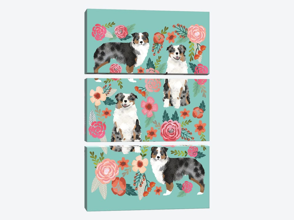 Australian Shepherd Floral Collage by Pet Friendly 3-piece Art Print