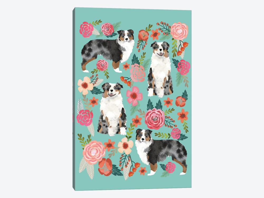 Australian Shepherd Floral Collage by Pet Friendly 1-piece Canvas Art Print