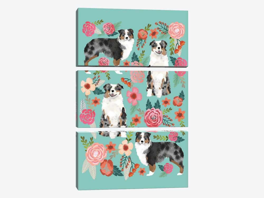 Australian Shepherd Floral Collage by Pet Friendly 3-piece Art Print