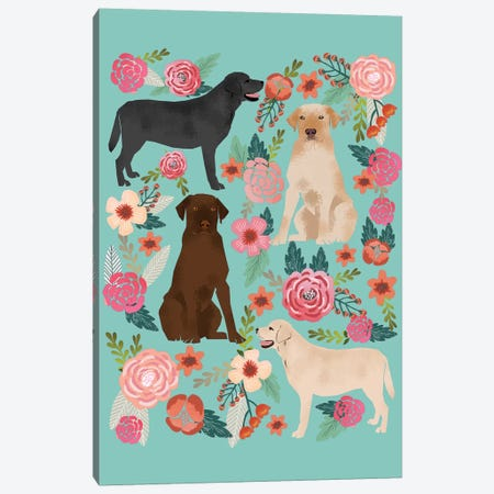 Labrador Floral Collage Canvas Print #PET52} by Pet Friendly Canvas Art