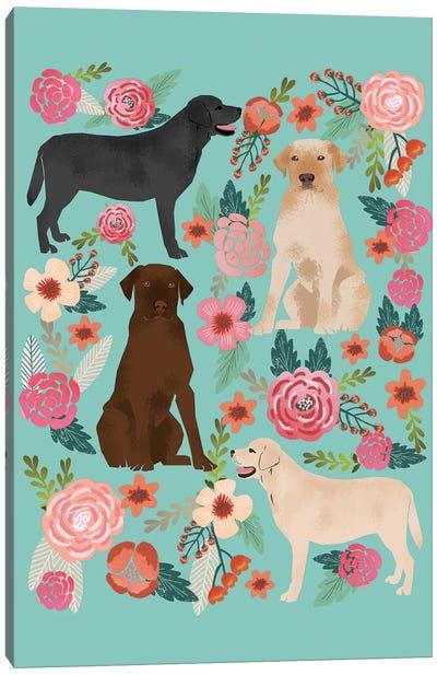 Labrador Floral Collage Canvas Print #PET52
