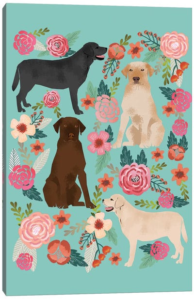 Labrador Floral Collage Canvas Art Print