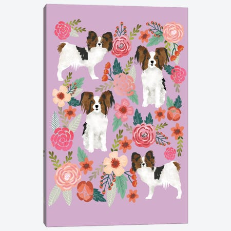 Papillon (Continental Toy Spaniel) Floral Collage Canvas Print #PET56} by Pet Friendly Canvas Art Print