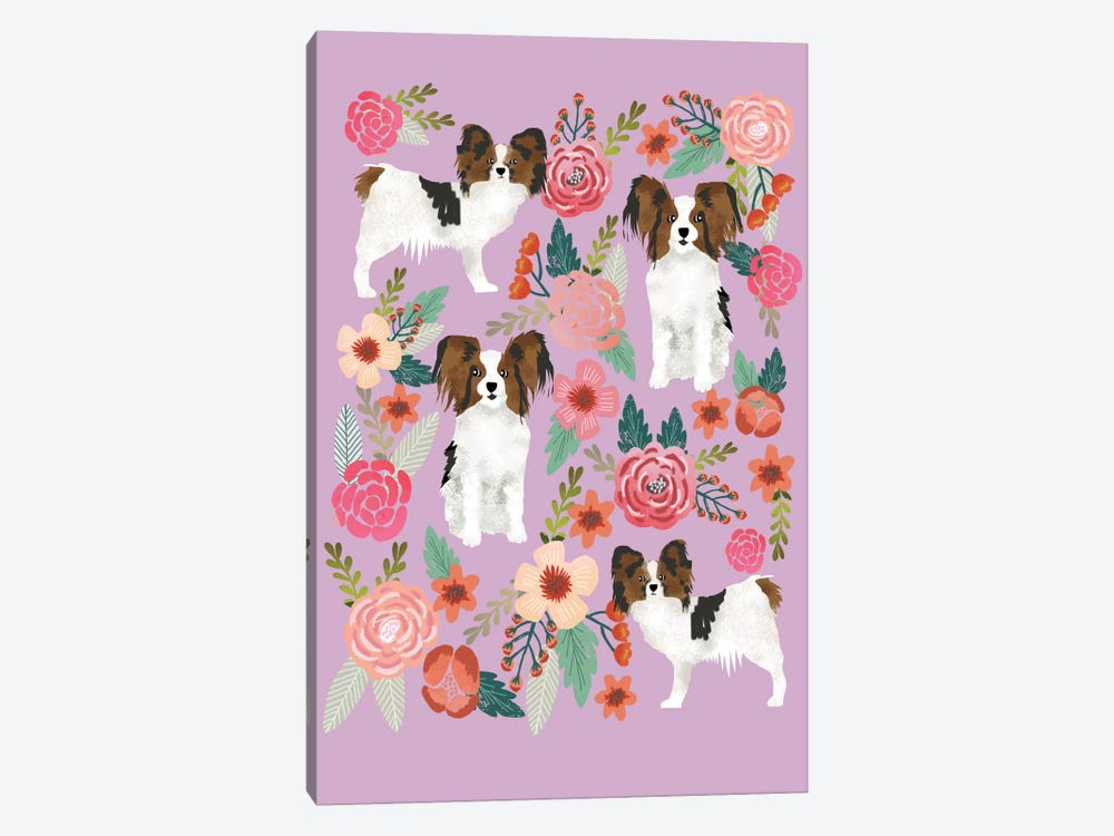 Papillon (Continental Toy Spaniel) Floral Collage by Pet Friendly 1-piece Art Print