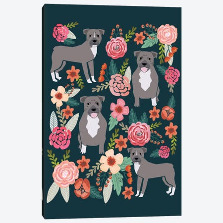 Pit Bull Floral Collage Canvas Print #PET57} by Pet Friendly Canvas Print