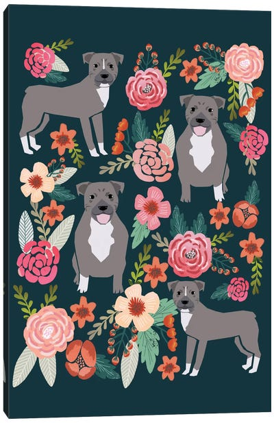 Pit Bull Floral Collage Canvas Art Print