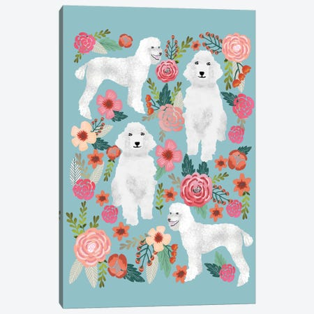 Poodle Floral Collage Canvas Print #PET58} by Pet Friendly Canvas Art