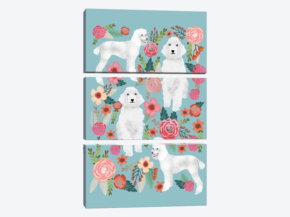 Poodle Floral Collage 3-piece Canvas Print