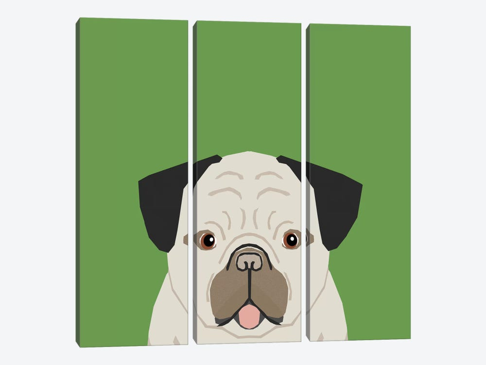 Pug by Pet Friendly 3-piece Canvas Wall Art
