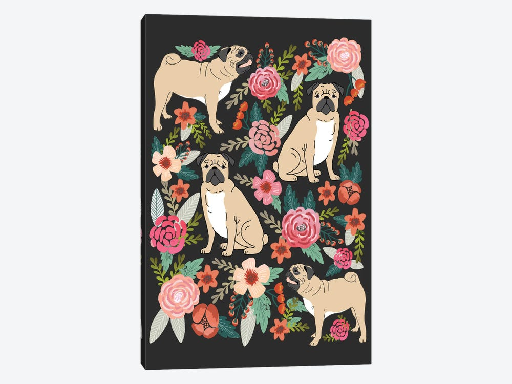 Pug Floral Collage by Pet Friendly 1-piece Canvas Wall Art