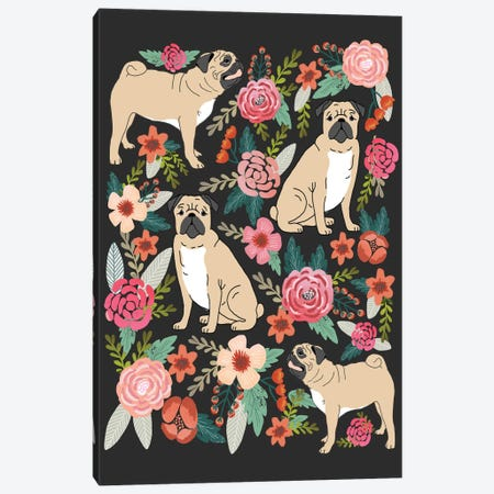 Pug Floral Collage Canvas Print #PET60} by Pet Friendly Art Print