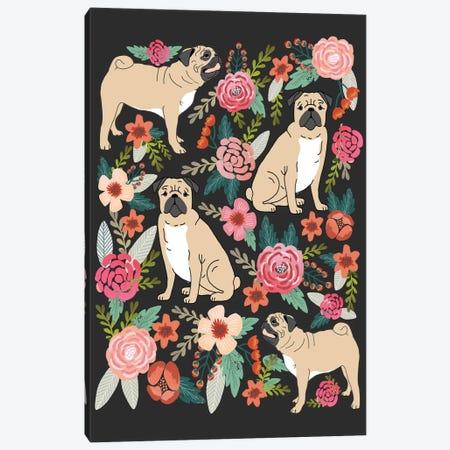 Pug Floral Collage Canvas Print #PET60} by Pet Friendly Art Print