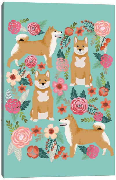 Shiba Inu Floral Collage Canvas Print #PET64