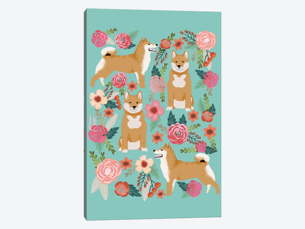 Shiba Inu Floral Collage by Pet Friendly 1-piece Canvas Wall Art