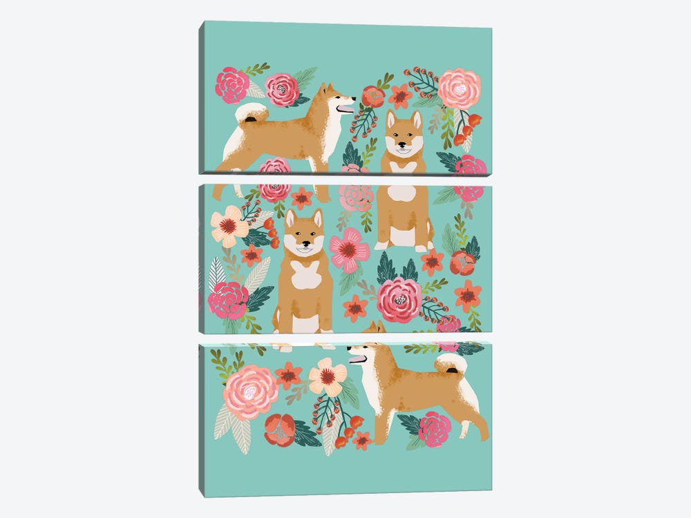 Shiba Inu Floral Collage by Pet Friendly 3-piece Canvas Art