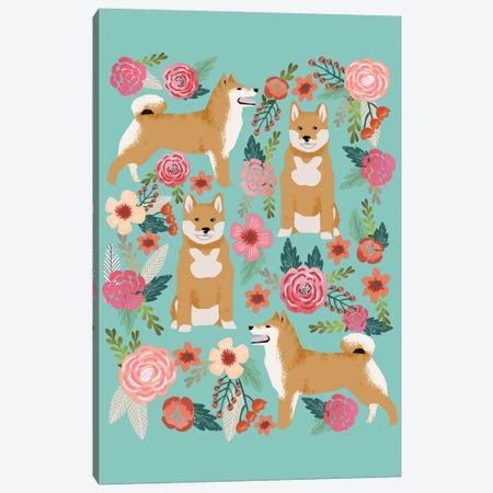 Shiba Inu Floral Collage Canvas Print #PET64} by Pet Friendly Canvas Artwork