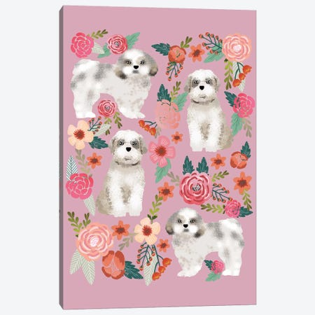 Shih Tzu Floral Collage Canvas Print #PET66} by Pet Friendly Canvas Artwork