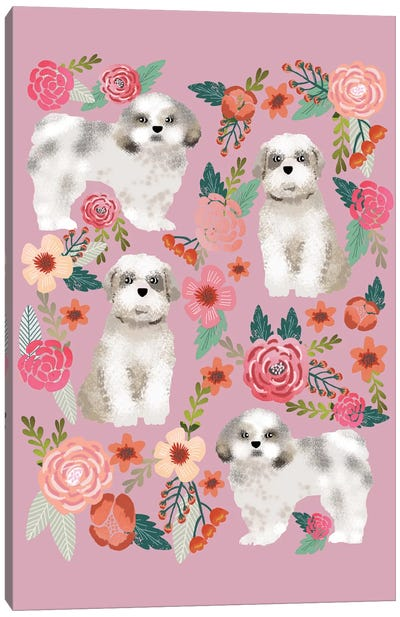 Shih Tzu Floral Collage Canvas Art Print