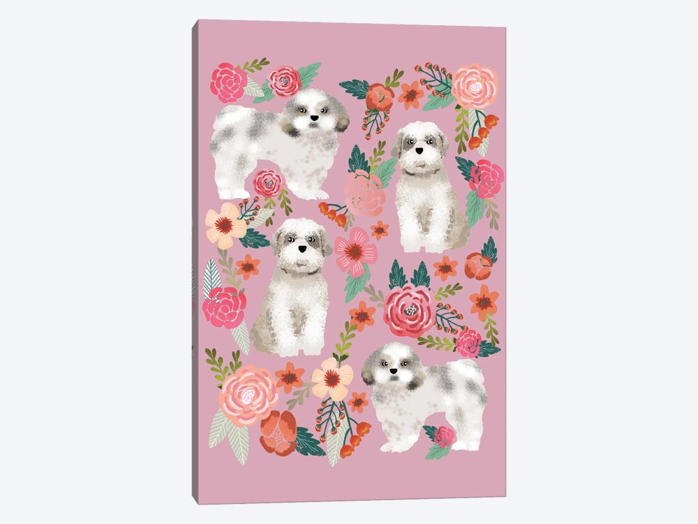 Shih Tzu Floral Collage by Pet Friendly 1-piece Canvas Wall Art