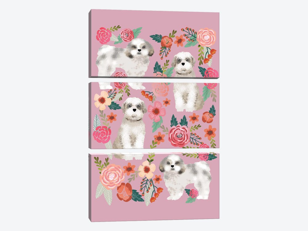 Shih Tzu Floral Collage by Pet Friendly 3-piece Canvas Wall Art