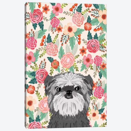 Affenpinscher Floral Canvas Print #PET70} by Pet Friendly Canvas Artwork